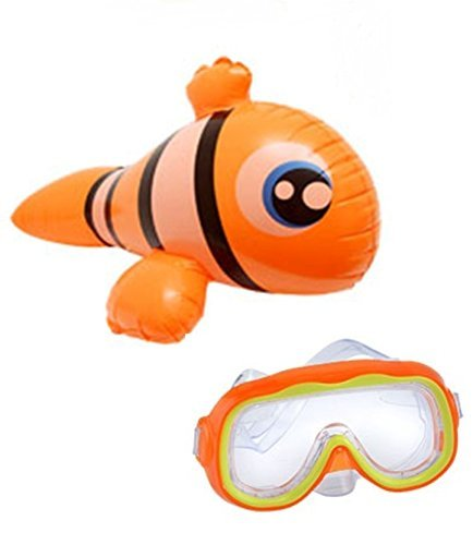 Toy Kids Spring Summer Float Fun Backyard Outdoor Float Playtime Lake Pool Beach Orange Goggles Swim Ride On Inflatable Pool Animals ~ Clown Fish by Toy