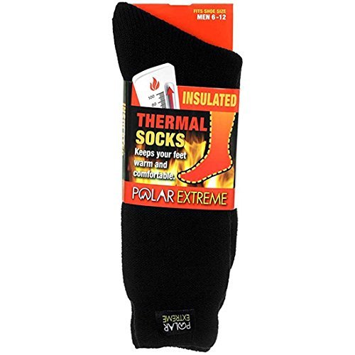 Review Men's Polar Extreme Moisture Wicking Insulated Thermal Socks in 4 Great Colors (Black),6-12