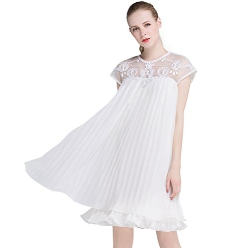 (Women Party Dress Chiffon Pleated Swing Dress Sexy Elegant Embroidery Lace Cap Sleeve Dress for Birthday Wedding White L)