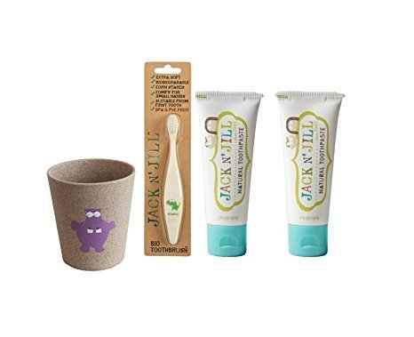 Maven Gifts: Jack N' Jill Bio Toothbrush - Dino with Jack N' Jill Natural Toothpaste, Blueberry, 1.76oz (Pack of 2) and Rinse Cup - Hippo