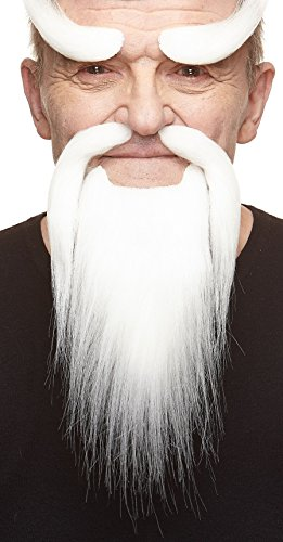 Mustaches Self Adhesive, Novelty, Shaolin Monk Fake Beard, Fake Mustache and Fake Eyebrows, White Color