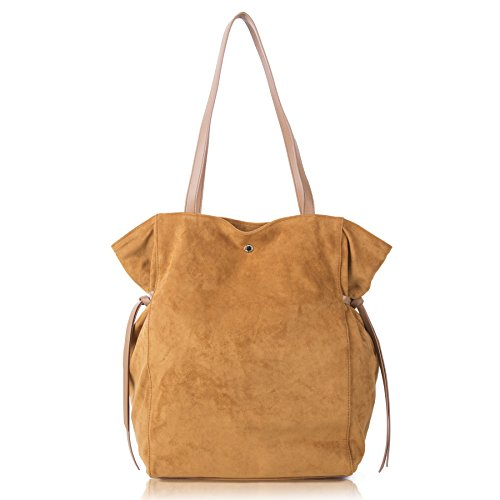 The Lovely Tote Co. Women's Faux-Suede Tote with Side Ties, (Camel Leather Handbags)