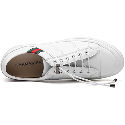 CHAMARIPA Unsichtbare H81C89K013D Teller 36 Männer White Zunehmende inch Hebe Sneaker Aufzug Höhe Schuhe 2 Lässige Schuhe Sport Ferse Blau Leder UrqUP6w
