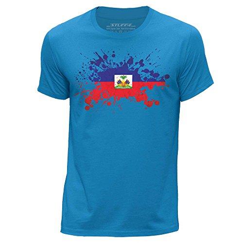 (Stuff4® Men's Large (L) Blue Round Neck T-Shirt/Haiti/Haitian Flag Splat)