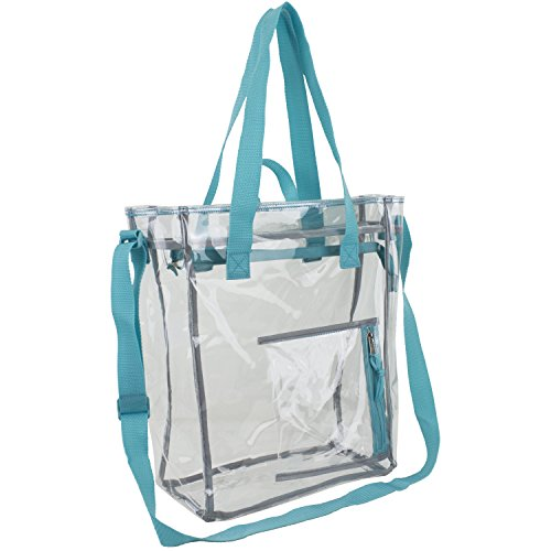 Eastsport 100% Clear PVC Value Tote with Front Easy Access Pocket, Mint Blue (Easy Zip Tote)