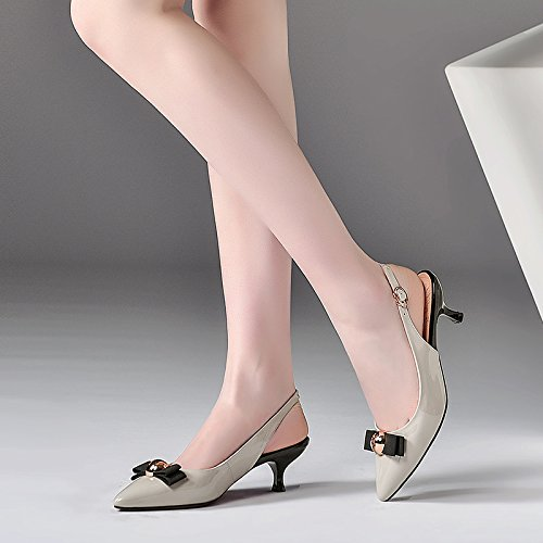 5cm Hebillas Treinta tacones de Remaches 35 Zapatos Pajaritas nueve Moda Grey Pinzas mujer elegante AJUNR Transpirable Sandalias y w67g1cv