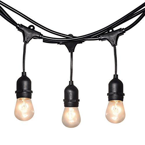 Light Tech Waterproof Outdoor String Lights Hanging Vintage 11W Edison Bulbs 50 Foot Bistro Lights Ideal Illumination for Backyard and Patio (Gardens Patios Hgtv And)