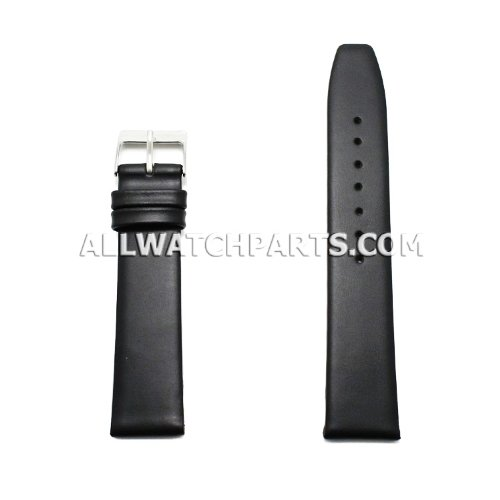 12mm Black Smooth & Flat Style Genuine Leather Band