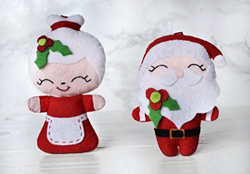 Felt Santa And Mrs Claus Ornaments Christmas Ornament Felt Santa Ornament Christmas Tree Decorations Xmas Decorations -  BabiesCare