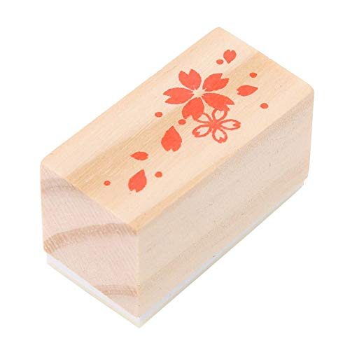 Wooden Seal Stamp Cherry Blossoms Multi-Functional Seal Log Rubber Stamp Dairy Photo Album Dairy Book Decoration(#3)