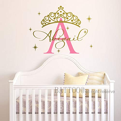 Name Wall Decal Crown Name Decal Baby Girl Personalized Name Decal Nursery Wall Decal Princess Tiara Girls Room Wall Art Plus Free Hello Door Decal, 19 Wide 14