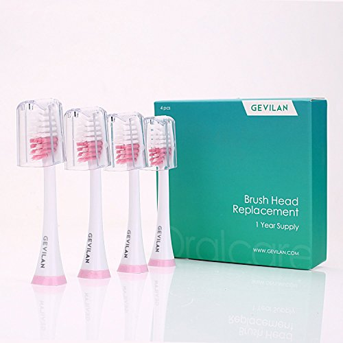 Toothbrush Heads Gevilan Clean Replacement Heads for Gevilan Electric Toothbrush, 4 Pack (Pink)