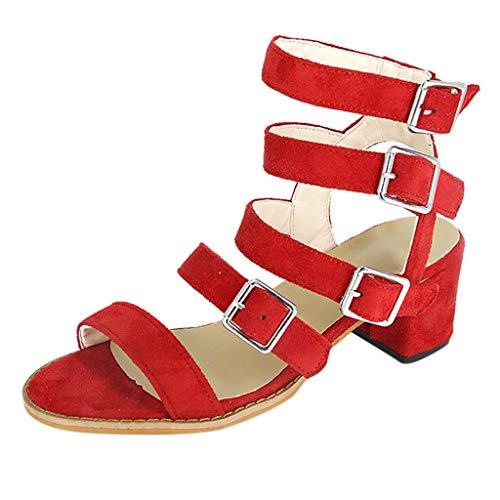 JJLIKER Women Gladiator Buckle Strap Mid Heel Sandals Peep Toe Non-Slip Suede Pumps Summer Fashion Dress Shoes Red ()