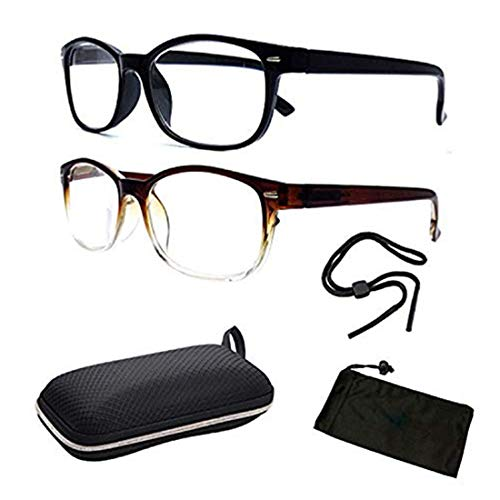 (Men Women Unisex Retro Classic Reading Glasses Reader Eye Wear Glasses Spring Hinged Round with Free Pouch (2PK Blk & BRN, 3.00))