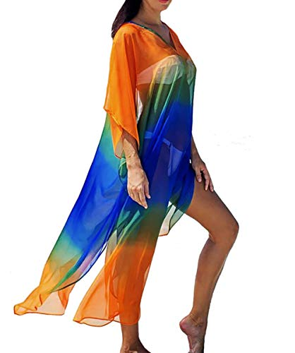 (Bestyyou Women's Semi-Sheer Chiffon Long Caftan Lounger Printed Kaftan Dress Bathing Suit Bikini Swimsuit Cover Up Swimwear (Printed D))