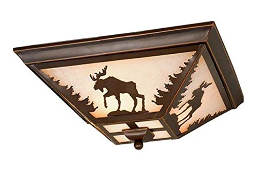 (Burnished Bronze Yellowstone 3 Light Flush Mount Indoor Ceiling Fixture with Moose Portrait Glass Shade - 14 Inches)
