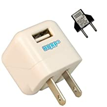 HQRP White USB Power Adapter for LG G Pad ; Toshiba Encore 8 ; Excite 7, 10 SE ; Excite Pure Tablet PC, Charger Power Supply + Euro Plug Adapter