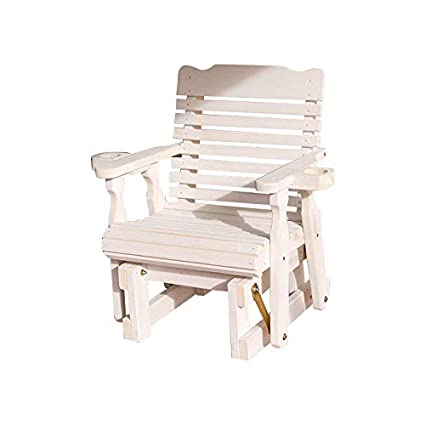 Amish Heavy Duty 600 Lb Classic Pressure Treated Glider Chair with  Cupholders (Semi-Solid White Stain)