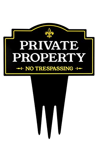 (Brookfield Products Private Property No Trespassing Yard Sign with Stake | Unique Triple Self Staking Design | Heavy Duty Dibond Aluminum Material | Stakes Easily in Home Lawn | 16