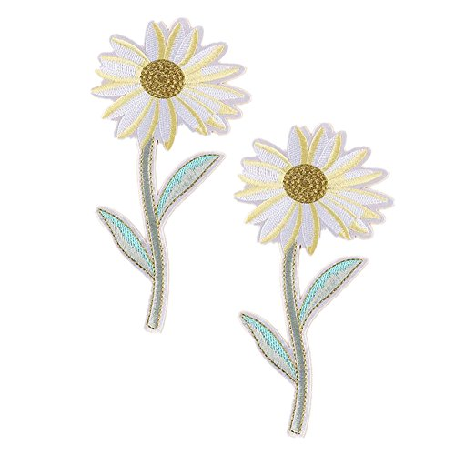Extra Large Flamingo Rose Butterfly Daisy Tulip Flower Embroidered Patches Iron on Applique Motif (Butterfly Embroidered Iron)
