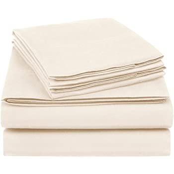 AmazonBasics Essential Cotton Blend Bed Sheet Set, Queen, Beige