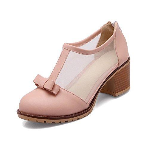BalaMasa Womens Round-Toe Metal Bowknot Soft Material Pumps-Shoes Pink t4xn8EHQu