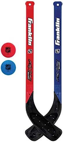Franklin Sports Mini Hockey Flex Stick and Ball Set - Play Knee Hockey Anytime, Anywhere - Kids Hockey Set - NHL - Includes 2 Mini Sticks and 2 Foam Balls