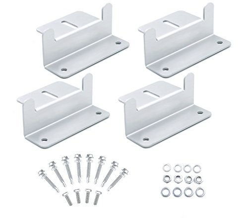 Solar Panel Roof Mounting Z-Bracket, Solar Panel Hardware with Nuts, Bolts and Washers for RV, Boat, Roof, Wall and Other Off Gird Roof Installation, Support Solar Panels Up to 150W, Set of 4 Units