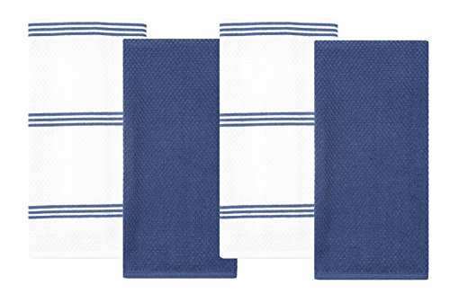 Blue Dish Towel - Sticky Toffee Cotton Terry Kitchen Dish Towel, Dark Blue, 4 Pack, 28 in x 16 in