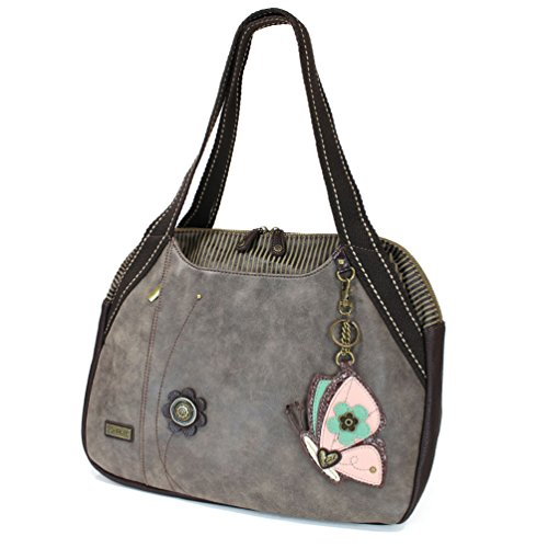 Chala Large Bowling Tote Bag with coin purse Stone Gray (Butterfly - ()