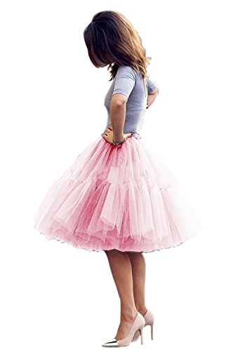 Skirt Prom Party Dress - Tulle Skirt,Women's Midi Tulle Skirt Fluffy Princess Six Layers Ballet Faldas Underskirt A line Party Dresses (S, Pink)