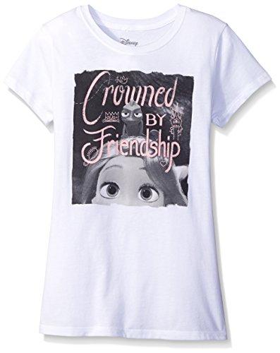 Disney Girls' Big Girls' Sleeping Beauty Rapunzel T-Shirt Shirt, White, Medium
