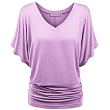 Fashion Story Woman Ladies Summer Short Sleeve V Neck Dolman Top Blouse Shirts