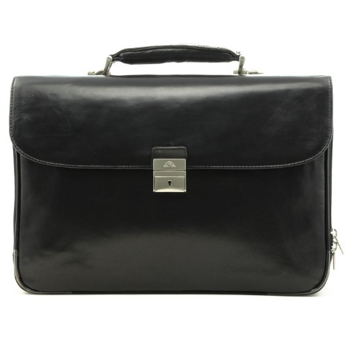 Tony Perotti Expandable Briefcase - CUSTOM PERSONALIZED INITIALS ENGRAVING Tony Perotti Mens Italian Bull Leather Roberto Spacious Four-Compartment Expandable Leather Laptop Briefcase in Black