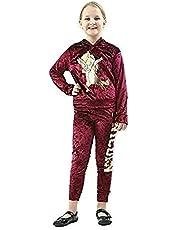 Momo&Ayat Fashions Girls Kids Warm Soft Velour Dab Unicorn Gold Foil Velvet Loungewear Tracksuit Age 7-13 Years