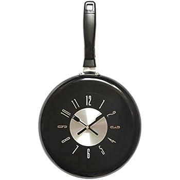 Amazon Com Wall Clock 10 Inch Metal Frying Pan Kitchen