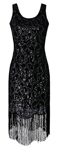 Jaycargogo Des Femmes De Paillettes Ramassent Réservoir Bord Houppe Cou Mini-robe Noire Moulante