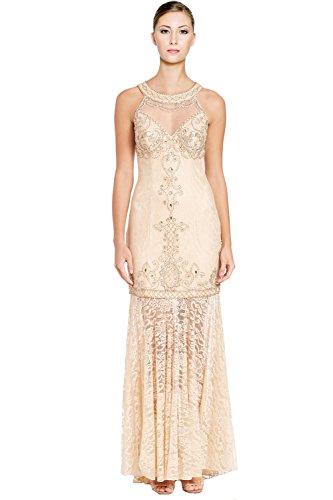 Sue Wong Embellished Lace Illusion Yoke Halter Evening Gown Dress