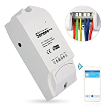 Sonoff Pow WiFi Smart Plug Socket, Remote Control Wall Light Switch Echo Alexa and Google Nest for Android iOS