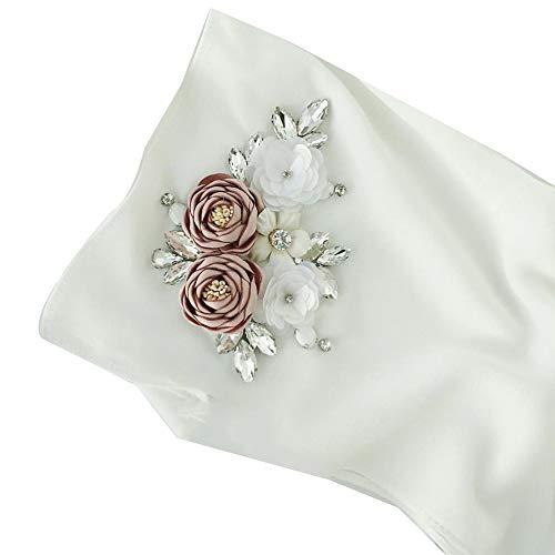 YI HENG MEI Women's Muslim Islamic Handmade Rhinestones Flowers Wedding Hijab 70×30 inch,White by YI HENG MEI