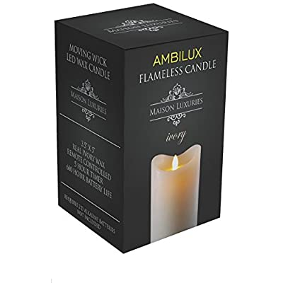 Maison Luxuries Ambilux Moving Wick Unscented Flickering Battery Operated Electric LED Flameless Candle with Timer and Remote Control - 100% (3.5