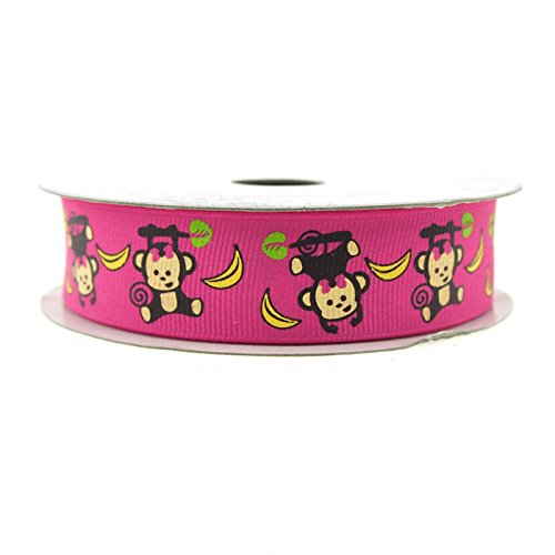 Banana Grosgrain Ribbon (Monkey Banana Hot Pink Grosgrain Ribbon, 7/8-Inch, 10 Yards)