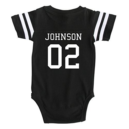 Custom Football Baby Bodysuit Personalized with Name and Number (6-12M (12M), Black)