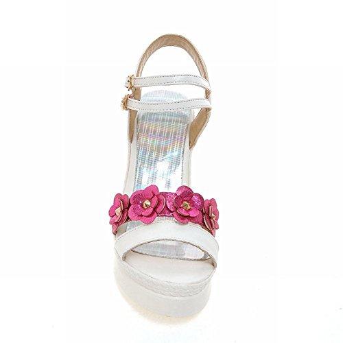 Carolbar Delle Donne Multi Fibbia Applique Sweet Chic Open Toe Sandali Zeppe Piattaforma Estiva Partito Rosso Rosa