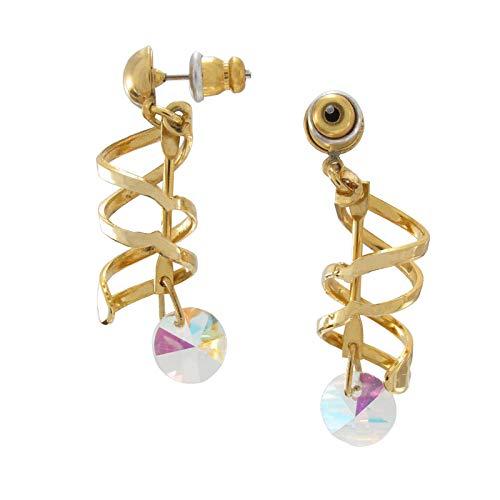 (Gold Tone Double Swirl Spiral Multi Color Disc Cut Out Pierced Earrings Beaded Earrings For Women)