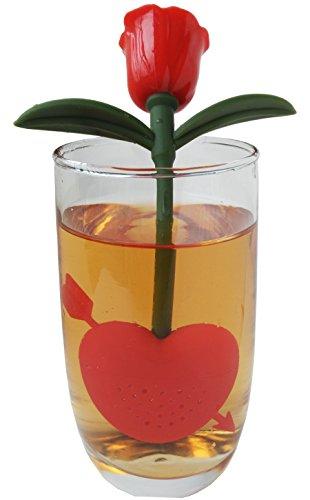 QOCOO Pack of 2 Rose & Eros Cupid's Arrow Loose Tea Infuser & Strainer Tea Set, Food Grade Silicone Creative Filter for Your Favorite Tea,Black Tea, Green Tea, Bagged Tea, Hot tea RED (Cute Z Cute Robot compare prices)