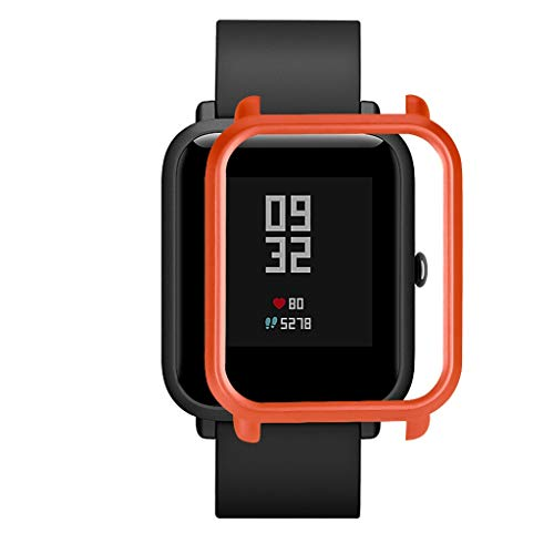 Slim Colorful Frame PC Case Cover Protect Shell for Xiaomi Huami Amazfit Bip Younth Watch with Screen Protector, Lightweight Smart Watch Accessories (WR)