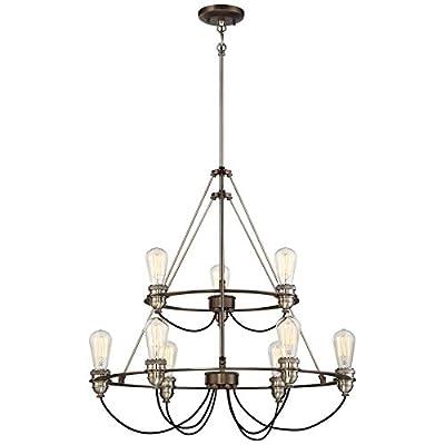 Minka Lavery Chandelier Pendant Lighting 4459-784 Uptown Edison Dining Room Fixture, 9-Light 360 Watts, Bronze w/Pewter