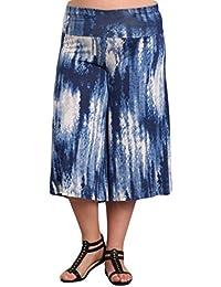 Women's Solid Tie Dye Wide Leg Flared Capri Boho Gaucho...
