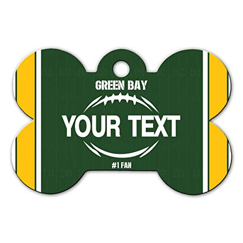 BRGiftShop Personalize Your Own Football Team Green Bay Bone Shaped Metal Pet ID Tag with Contact Information